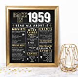 Katie Doodle 60th Birthday Decorations Gifts for Women or Men | Includes 8x10 Back-in-1959 Sign [Unframed], BD060, Black/Gold
