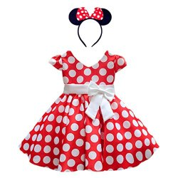 DreamHigh Girls Toddlers Polka Dot Skirt Cap Sleeves Flowers Girl Vintage Bow Dress with Headband Red 2T