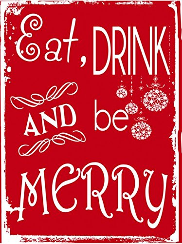 Wall Art Eat Drink And Be Merry Metal Sign Holiday Christmas Home Decor