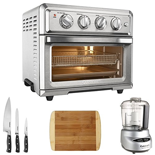 Cuisinart TOA-60 Convection Toaster Oven Air Fryer w/Light (Silver) with Ultimate Kitchen Bundle Includes, Mini Food Processor, 3-Pc. Knife Set & Bamboo Cutting Board