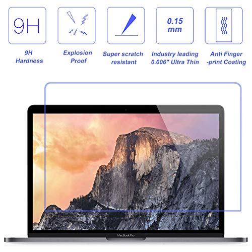 FORITO Tempered Glass Screen Protector for 2016-2019 MacBook Pro 15 Model A1707 A1990, Industry Leading 0.15 mm Almost Invisible, 99.9% HD Clear Not Reduce The Screen Brightness