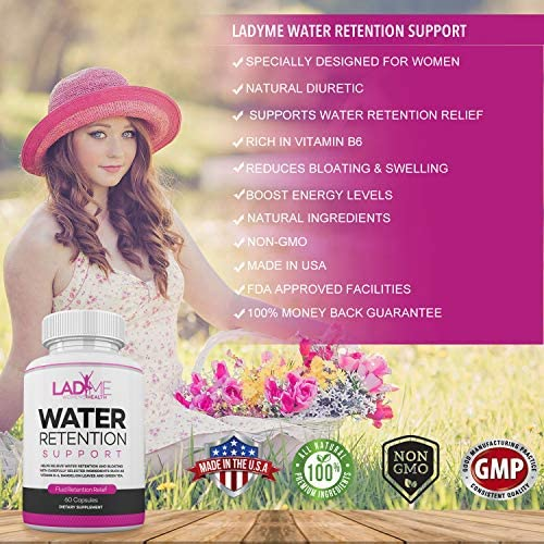 Water Retention Pills for Women Bloating Relief with Vitamin B6, Dandelion & Green Tea Natural Diuretic for Water Draining, Bloating & Swelling Detox Capsules - 60 Caps - by LadyMe 3