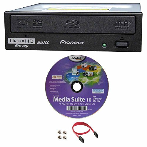 Pioneer BDR-211UBK 16x Internal Ultra HD 4K Blu-ray BDXL Burner, Bundle with Cyberlink Software and Cable