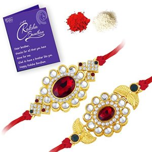 Gold Plated Designer Floral Rakhi Combo (Set of 2) with Roli Chawal and Greeting Card