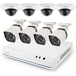 Zmodo Smart PoE Security System -- 8 Channel NVR & 4 x 720p Outdoor Bullet and 4 x Indoor Dome Cameras and 2TB Hard Drive