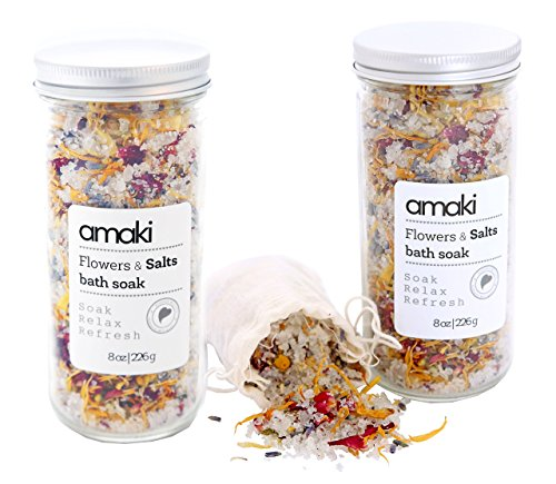 AMAKI SKINCARE Flowers and Salts Bath Soak Set with Lavender Essential Oil, Dried Rose Petals, Lavender, Calenlular and Chamomile Flowers (2 Pack), 8 oz