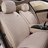 INCH EMPIRE Linen Car Seat Cover Cloth 5 seat Full Set - Flax Anti-skidding Fit for Escape Fiesta Focus Edge Fusion Accord Civic Elantra Accent Kona Kia Sportage Soul NIRO Optima (Beige)