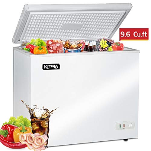 Commercial Top Chest Freezer - Kitma 9.6 Cu. Ft Deep Ice Cream Freezer with 2 Storage Baskets, Adjustable Thermostat, Lock,Rollers, White