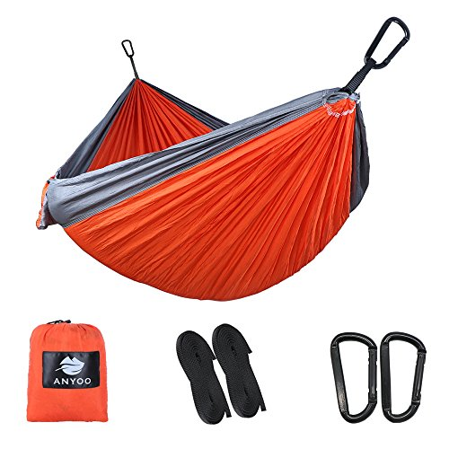 Anyoo Ultra-Light Strong Camping Hammock | Multiple-use,Easy to Carry,Nylon Parachute Fabric,2 x Premium Carabiners,2 x Nylon Slings Included | For Outdoor Indoor Garten
