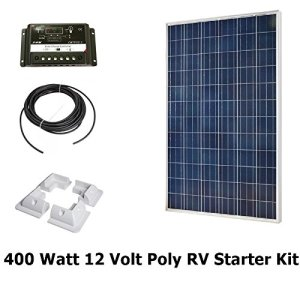 Infinium 400 Watt Solar Panel Complete Off-Grid RV Boat Kit with 30 AMP USB PWM Charge Controller + 40′ Solar Cable + Drill Free Mounting Brackets