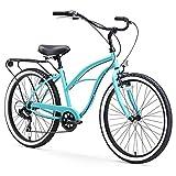 sixthreezero Around The Block Women's 7-Speed Speed Cruiser Bicycle, Teal Blue w/ Black Seat/Grips, 26' Wheels/17' Frame