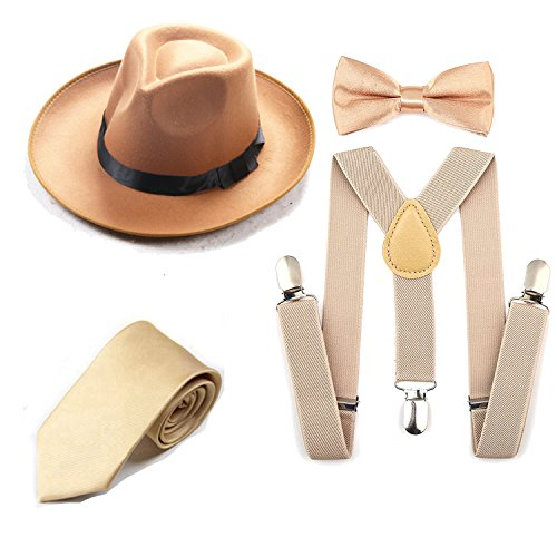 0af8381a4 1920s Mens Accessory Set Manhattan Fedora Hat, Suspenders Y-Back Elastic  Trouser Braces,Pre Tied Bow Tie,Gangster Tie