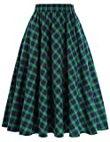 GRACE KARIN Green and Blue A-Line Flared Swing Midi Skirt Size L KK633-1