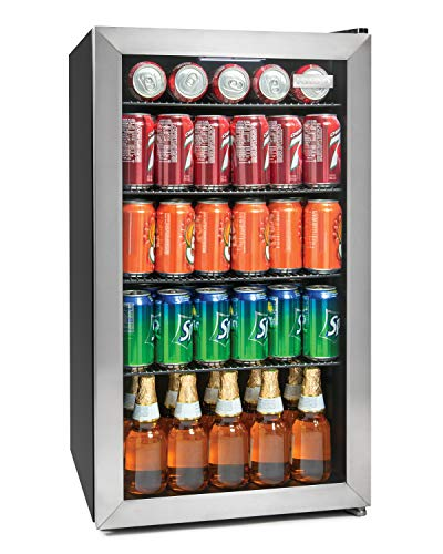 Igloo IBC41SS 180-Can Stainless Steel Glass Door Beverage Center Refrigerator and Cooler, 4.1 Cu.Ft,