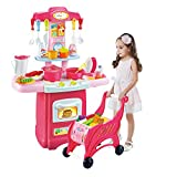 Kids Electronic Kitchen Play Set And Shopping Cart Chess Set ,Toddler Kitchen Cooking Set Pink,Kids Kitchen Pretend Play Food For Girls Boys 3-12 Years Old (Multicolor/Ship from US)