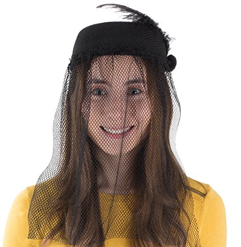 Tigerdoe-Pillbox-Hat-Funeral-Hats-for-Women-Hat-with-Veil-Widow-Hat-with-Veil-Vintage-Hats-for-Women