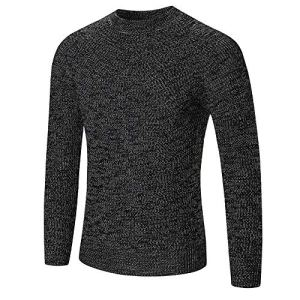 iFOMO Mens Business Casual Long Sleeve O-Neck Solid Color Sweaters Tops Blouse Pullover