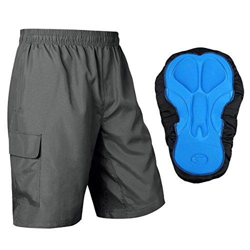 Baleaf Men's 3D Padded Mountain Bike Baggy Cargo Shorts Elastic Liner Grey Size XXL