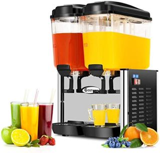 COSTWAY-Commercial-Beverage-Dispenser-Machine-95-Gallon-2-Tank-Juice-Dispenser-for-Cold-Drink-350W-Stainless-Steel-Finish-Food-Grade-Material-Ice-Tea-Drink-Dispenser-18-Liter-Per-Tank-Stainless