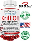 BioOptimal Krill Oil - No Fishy Taste, Premium Quality, Non-GMO, Omega 3 & Astaxanthin, 1000mg Serving, Easy to Swallow Capsules, Made in USA, Certified Sustainable, 60 500mg Softgels 1 Month Supply