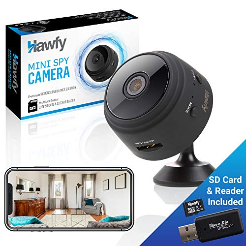 Hawfy Mini HD Wireless Hidden Camera - Magnetic Feature for Easy Installation with SD Card and Reader - Smart Motion Detection, Instant Push Notifications, Night Vision Spy Cam - Mini Spy Camera