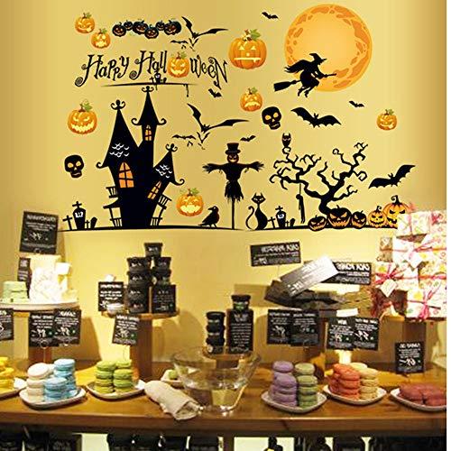 BBSJN Halloween Party Theme Sticker,Pumpkin Lantern, Night Tree, Ghost & Moon Stickers House Waterproof Removable PVC Wall Decals Window Clings for Kids Room (35.4'' x 23.6'' (HS017))