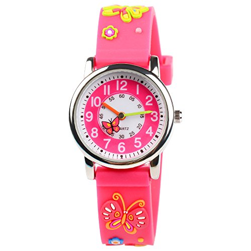 Venhoo Kids Watches 3D Cute Cartoon Waterproof Silicone Children Toddler Wrist Watches Time Teacher Gift for Girls Little Child (Pink Butterfly)