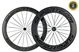 Superteam 700c Carbon Bicycle Wheel Front 60mm Rear 88mm Clincher Wheelset with Transparent Decal