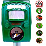 Belidan Animal Repellent Ultrasonic Outdoor Animal Repeller - Dog Rats Raccoon Repellent Skunk Repellent Mice Cat Repellent - Animal Deterrent Device Solar Powered - Motion Sensor, Alarm, LED Lights