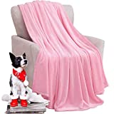 KAWAHOME Fleece Blanket Lightweight Fuzzy Microfiber Throw Blankets All Season for Bed Couch Sofa Queen Size 90 X 90 Inches Pink