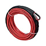 1/4' x 50' Synthetic Winch Line Cable Rope 7000+ LBs w/ 39' Rock Guard Sheath ATV UTV SUV Off-Road Rams (Red)