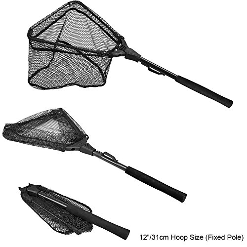 PLUSINNO Fishing Net Fish Landing Net, Foldable Collapsible Telescopic Pole Handle, Durable Nylon Material Mesh, Safe Fish Catching or Releasing (12')