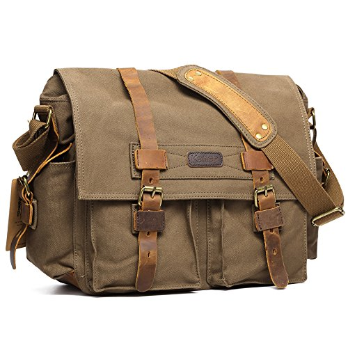 Kattee Leather Canvas Camera Bag Vintage DSLR SLR Messenger Shoulder Bag Army Green