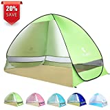 BATTOP Pop Up Beach Tent Camping Sun Shelter Outdoor Automatic Cabana 2-3 Person Fishing Anti UV Beach Tent Beach Shelter, Sets up in Seconds (Green)