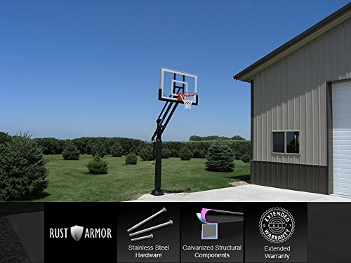 Pro Dunk Silver with Rust Armor: In-ground Adjustable Basketball Goal Hoop with 54' Glass Backboard System for Outdoor Basketball Courts