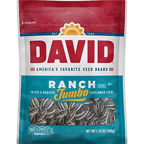 DAVID Roasted and Salted Ranch Jumbo Sunflower Seeds, 5.25 oz, 12 Pack