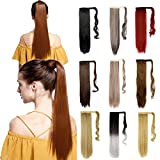 S-noilite Wrap Around Ponytail Hair Extension One Piece Magic Paste Hairpiece Synthetic Straight Curly(26' Straight Medium Brown)