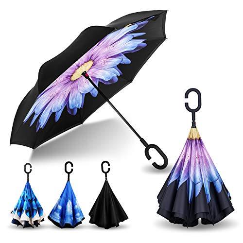 AmbrellaOK Premium Double Layer Reversible Umbrella with Reverse Folding Design Hands Free Handle Lightweight & Windproof Ideal Gift for Men & Women (Purple Flower)