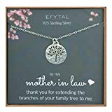 EFYTAL Mother in Law Gifts, Sterling Silver Tree of Life Necklace, Wedding Jewelry Gift from Bride or Groom