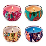 HITHYS Aromatherapy Scented Candles Essential Oils Natural Soy Wax Portable Travel Tin Candle Set of 4 Perfect for Stress Relief Relaxation, Men Women Anniversary Holiday Thank You Gift Candle