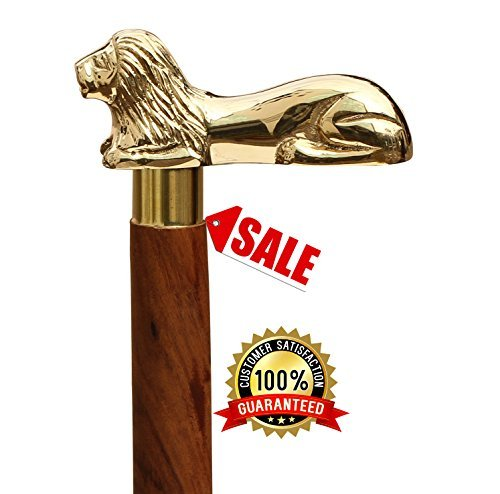 The King Cane - SouvNear 37.2' Brown Wooden Walking Stick - Wood Cane with Golden Lion Brass Handle - Unique Vintage Look Decorative Gentleman Walking Sticks and Canes