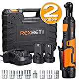 """REXBETI Cordless 3/8"""" Electric Ratchet Wrench Set with Double 12V Lithium-Ion Battery,1 Quick Charger Kit, 7-piece 3/8"""" Metric Sockets and 1-piece 1/4"""" Socket Adapter, 38ft-lbs of Maximum Torque"""