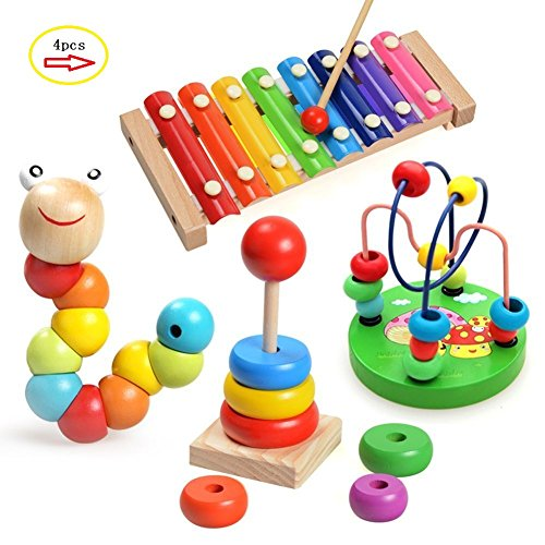 Laifaer Childrens Music Instruments Baby 4 Pieces Wood Toy with Xylophone, Caterpillar Beads, Pearl Labyrinth Toy and Rainbow Tower