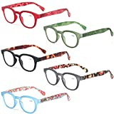 Reading Glasses Fashion Men and Women Readers Spring Hinge with Pattern Design Eyeglasses for Reading (5 Pack Mix Color, 0.5)