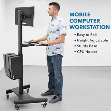 Mount-It-Adjustable-Mobile-PC-Workstation-with-Single-Monitor-Mount-Mobile-Standing-Computer-Workstation-with-Adjustable-Keyboard-Tray-and-CPU-Holder-Rolling-Desk-Fits-13-to-32-Inch-Monitors