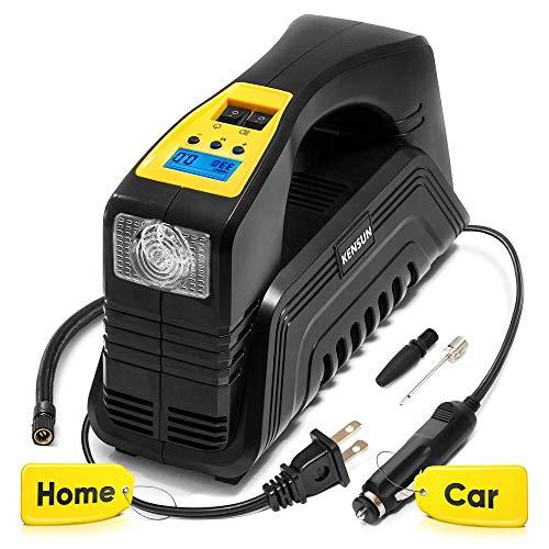 Kensun AC/DC Digital Tire Inflator for Car 12V DC and Home 110V AC Rapid Performance Portable Air Compressor Pump for… 51kMuedn9oL