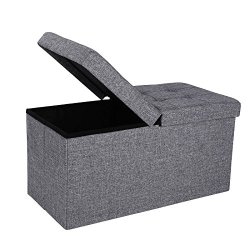 SONGMICS Fabric Ottoman, Footstool with Storage, Shoe Bench, Extra Seat, 30″, Gray
