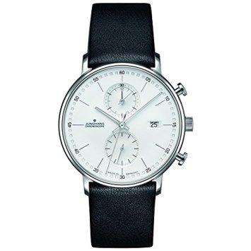 Junghans Form C Chronoscope Quartz Matt Silver Watch | Black Calfskin 041/4770.00