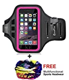 QUANFUN Running Armband Compatible iPhone X, 8, 8/7 Plus, 6S, Water Resistant Cell Phone Holder Arm Band, Workout Sports Arm Strap with Adjustable Elastic Band & Key Holder Fits up to 6.2' Smartphone