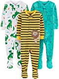 Simple Joys by Carter's Boys' 3-Pack Snug Fit Footed Cotton Pajamas, Dino/Animals Green/Lion, 24 Months